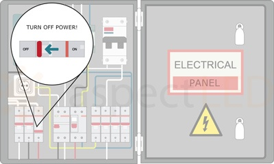 before doing any electrical work, always disconnect power at the fuse or  circuit breaker