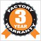 3 Year Factory Warranty